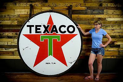 Texaco 2 Sided Porcelain Sign Gas Station & Ring Nice Barn Find 6