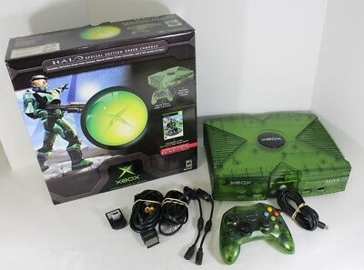 Xbox Special Green Edition Video Game Console Halo Rare With Original Box