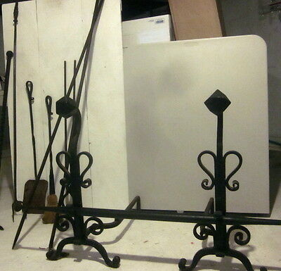 10 Pc Antique Huge Iron Hearth Andirons Set Fireplace Tools 5