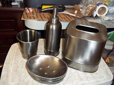 4 Pc Brushed Metal Bathroom Set Tissue Box Cover Soap Dish Cup Lotion Dispenser