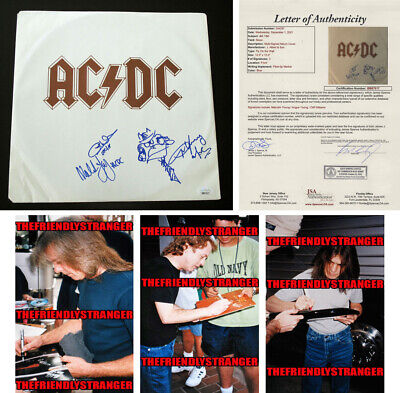 Angus Young, Malcolm, Cliff Signed Ac/dc Fly On The Wall Sleeve Proof Sketch Coa