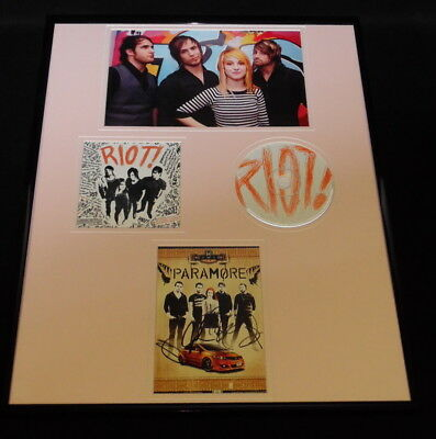 paramore group signed framed 16x20 riot cd and photo display jsa