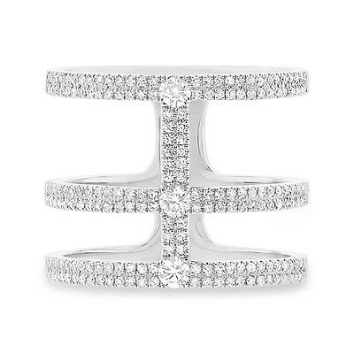 0.59ct 14k White Gold 3 Connecting Band Wide Diamond Ring Designer Inspired