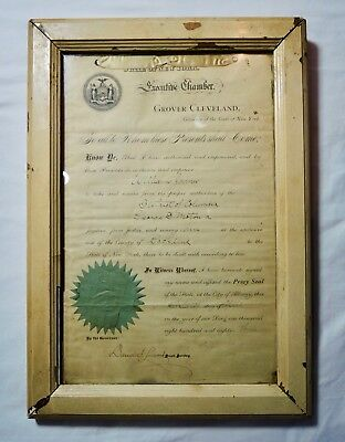 Rare President Grover Cleveland Signed /autographed New York Legal Warrant 1883