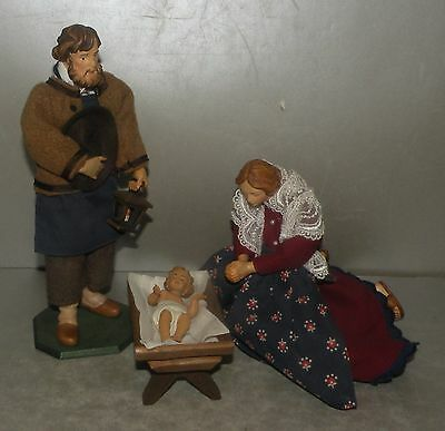 New Nativity Scene 3 Dressed Caracters Lepi Wood  - Articulated