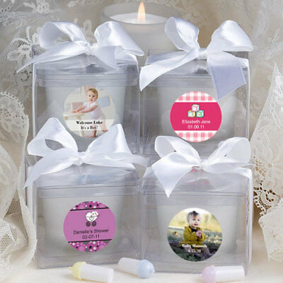 25-96 Personalized White Frosted Votive Candles - Baby Shower Party Favors
