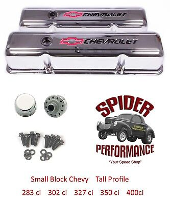 Chevy 283 327 305 350 400 Small Block Tall Valve Cover Kit Bowtie Chrome Steel