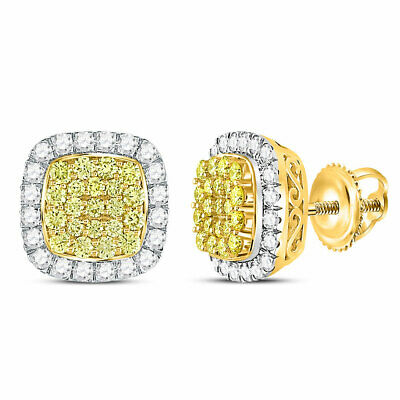 14kt Yellow Gold Canary Yellow Diamond Square Frame Cluster Earrings 2-1/6 Cttw