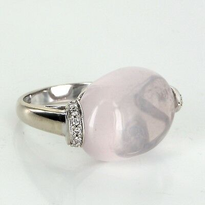 6 Point Star Rose Quartz Diamond East West Cocktail Ring Vintage 18k White Gold