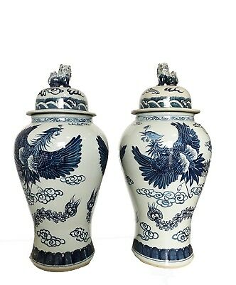 """Mansion Size Chinoiserie B & W Porcelain Ginger Jars - A Pair 35"""" H"""