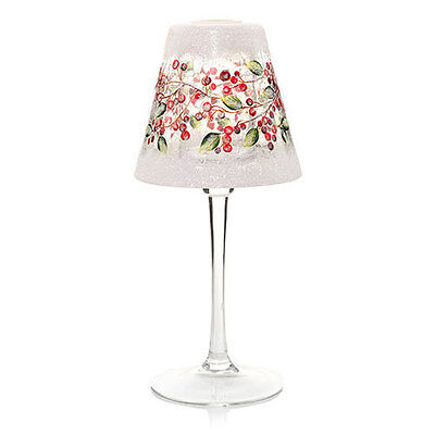 Yankee Candle Snowberry Crackle Glass Shade Frosted Tea Light Candle Lamp Nib