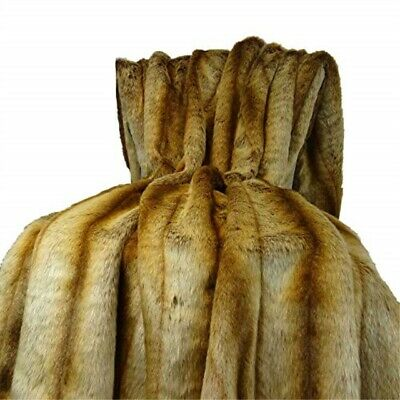 Plutus Brands Sheared Faux Throw Pillow 60 X 84 Gold/beige/brown