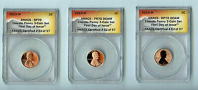 2019-w Three West Point Lincoln Cent Set Anacs Sp70 Pr70dcam Rp70dcam Fdoi