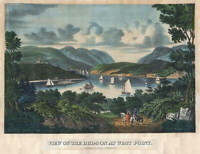 1862 F. Blumner View Of West Point Military Academy And The Hudson River