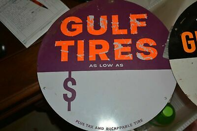 """Vintage Station Signs--original Round Gulf Tire Metal Sign--15 1/2"""" Tall-nice"""
