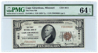 1929 Ty 1 $10 First Nb Of Cape Girardeau, Mo Ch. 4611 Pmg Choice Unc 64epq Y4627