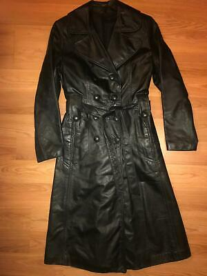 vtg 60s 70s womens long black leather button disco spy belted trench coat jacket