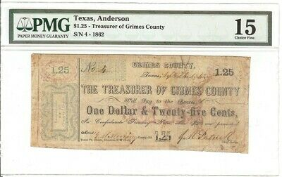 Texas C.s.a. State Grimes County, Anderson M-4, 50 Cents Sept 24, 1862 Pmg15
