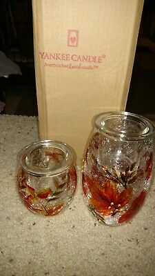Yankee Candle Autumn Leaves Crackle  Glass Tea Light Holder Set Brand New In Box