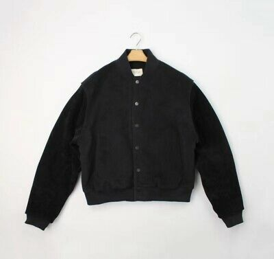 Fear Of God Fog Sixth Collection Varsity Jacket Suede Sleeves Black  S M L Xl