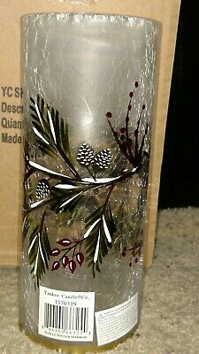 Winter Sparrow Crackle Glass Large Cylinder Tea Light Holder New In Box