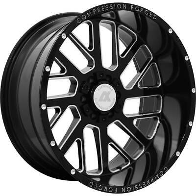 4- 22x12 Black Milled Ax2.0 8x6.5 -44 Rims Country Hunter Mt 33 Tires