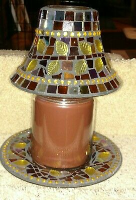Yankee Candle Jewel Mosaic Leaves Jar Shade And Plate Set Rare And Beautiful Nwt