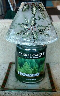 Yankee Candle Frosted Crackle Glass Holly Shade & Tray Set +  Jar Candle Nwts