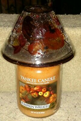 Yankee Candle Cornucopia Crackle Glass Jar Shade & Pumpkin Cream Jar Brand New