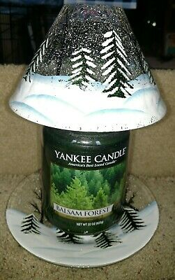 Yankee Candle Forest Crackle Glass Shade Plate Set+ Jar Candle New With Tags