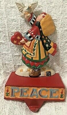 Midwest Mary Engelbreit Christmas Peace Stocking Hanger Holder Girl W/dove W/box