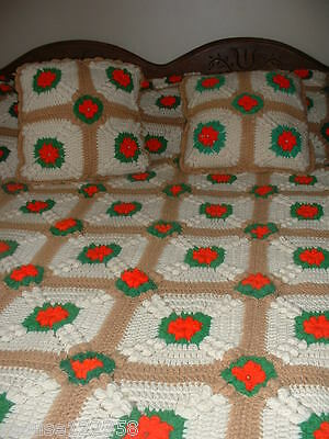 Handmade  Flower Designed Handcrafted Crochet Afghan Throw Blanket With Pillows