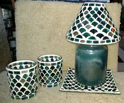 Yankee Candle Fresh Ocean Mosaic Jar Shade & Tray & Votives Brand New In Boxes
