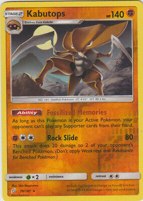 1x Kabutops - 78/181 - Rare - Reverse Holo Team Up Pokemon Near Mint