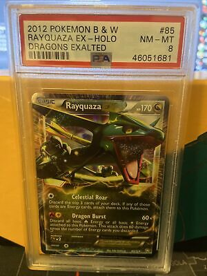 2012 Pokemon B&W RAYQUAZA EX HOLO NM-M DRAGONS EXALTED #85 PSA 8