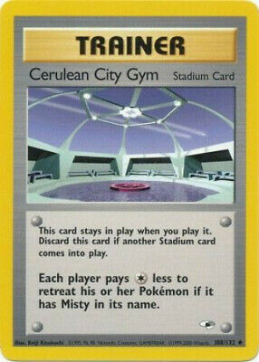 Pokemon Card - Gym Heroes 108/132 - CERULEAN CITY GYM (uncommon) - NM