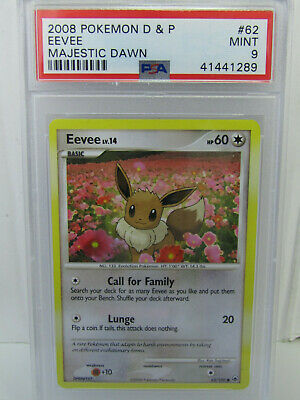 PSA 9 2008 Pokemon Diamond & Pearl Majestic Dawn Eevee #62/100