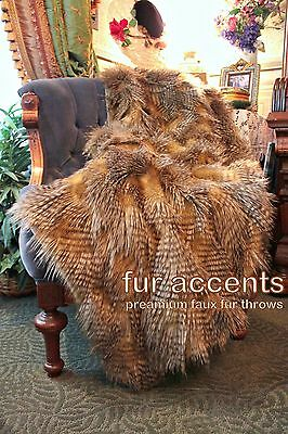Soft Faux Fur Brown Feather Throw Blanket Cuddle Minky Lined