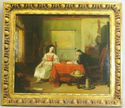 """Large Early 19th C. Original Oil Painting """"the Lesson""""  32"""" X 37""""  Exc. Cond."""