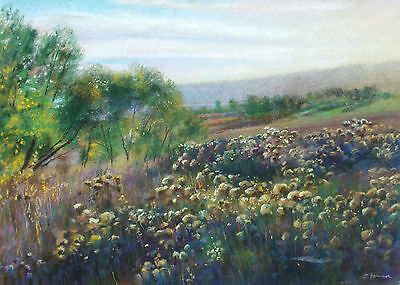 "Rick Stoner ""october Evening"" Hand Signed Original Pastel Drawing Landscape Obo"