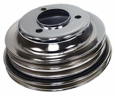Steel 1969-85 Chevy Bb 3 Groove Crank Pulley Long Lwp - Chrome