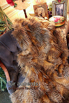 Premium Faux Fur Throw Blanket Rich Brown Feather Fur Minky Lined 5