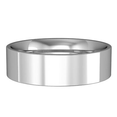 18ct white gold  6mm flat court band commitment / wedding ring