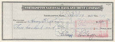 calvin coolidge  check signed 04/29/1932