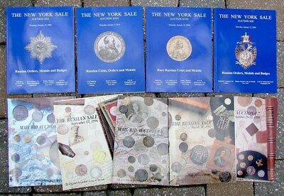 Lot Of 9 Auction Catalogs On Russian & World Coins Orders & Medals Illustrated