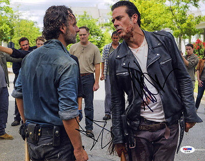 Andrew Lincoln Jeffery Dean Morgan Signed 11x14 Photo The Walking Dead Psa/dna