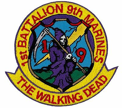 """1st Battalion 9th Marines The Walking Dead (230) 3"""" X 3"""" Embroidered Patch 27874"""