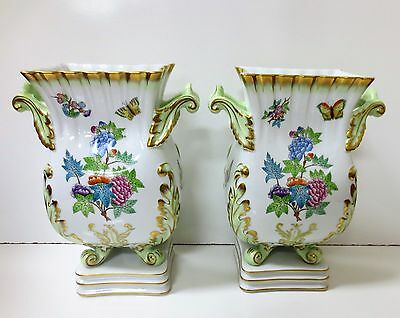 Pair, Herend Hungary Queen Victoria Vase Square Base $2730 Triple Mint Condition