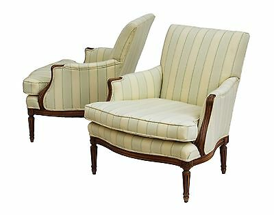 French Provincial Style Bergere Armchairs By Kindel With Carved Frames, Pair