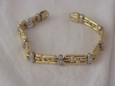 Vintage 18k Solid Gold Designer Diamond Link Bracelet .75 Ct Vs2 G Diamonds 7.5""